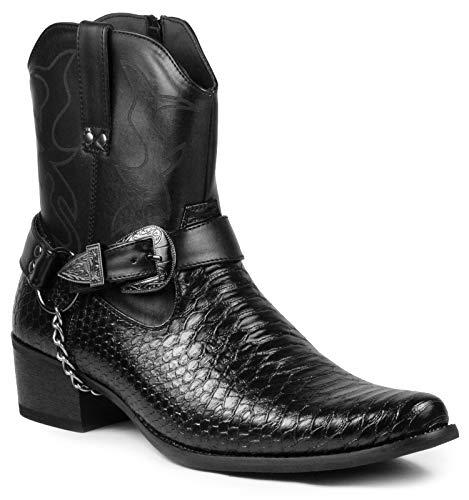 Cowboy Boot Spats (Metrocharm Diego-01 Men's Belt Buckle Chain Strap Western Cowboy Boots (8,)