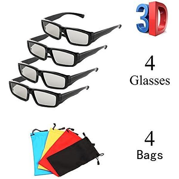 Pack de 4 vidrios polarizados pasivos 3D Unisex para LG Sony ...