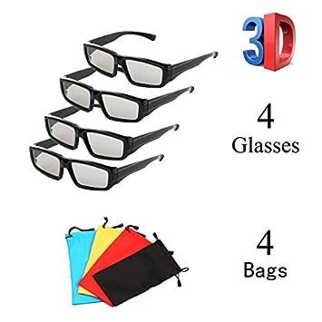 Pack de 4 vidrios polarizados pasivos 3D Unisex para LG Sony Panasonic Todos los televisores 3D pasivos Vidrios de Cine 3D RealD para Ver películas Paquete ...