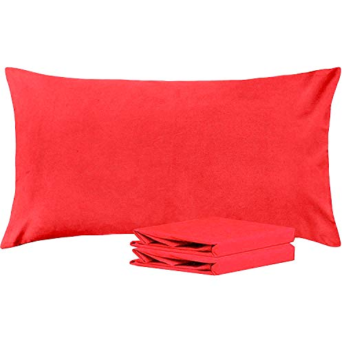 NTBAY King Pillowcases, Set of 2, 100% Brushed Microfiber, Soft and Cozy, Wrinkle, Fade, Stain Resistant, with Envelope Closure, Red (Red King Pillowcases)