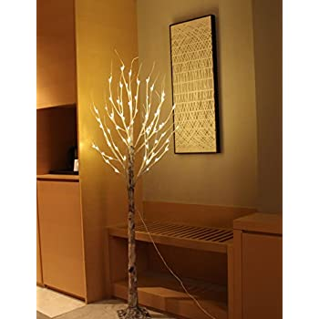 FestalED 6FT 72 LED Old-fashion Decorative Birch Tree,Warm White,Ideal for Indoor Decoration