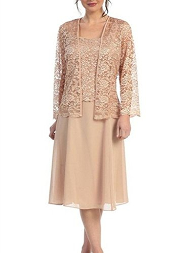 - H.S.D Womens Lace Mother of The Bride Dress Formal Gowns with Jacket Champagne