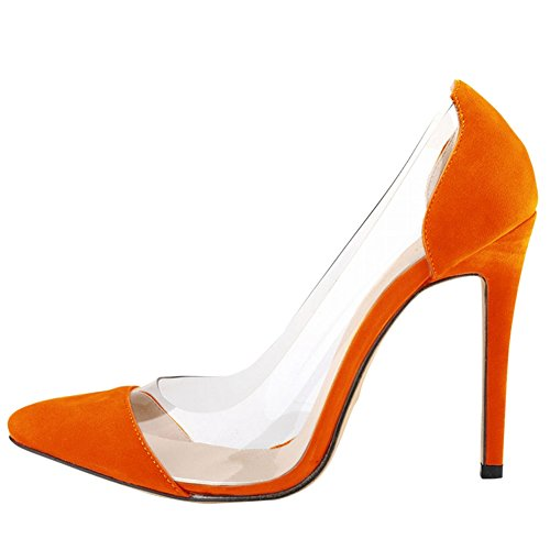 Fereshte Dames Femmes Transparent Talon Aiguille Robe Tribunal Chaussures Orange Rouge