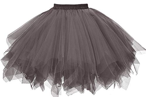 Musever 1950s Vintage Ballet Bubble Skirt Tulle Petticoat Puffy Tutu Gray XX-Large/XXX-Large]()