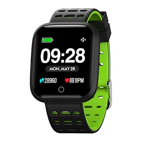 Azorex SmartWatch Multifunción Reloj Inteligente Cuadrado Impermeable IP67, Pulsera Actividad Control Remoto Correa Silicona Verde Q8-GOMA-VE