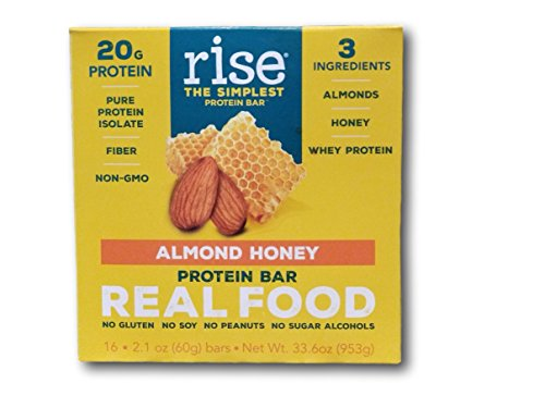 Rise Bar Non-GMO, Gluten Free, Soy Free, Real Whole Food, Whey Protein Bar (20g), No Added Sugar, Almond Honey High Protein Bar with Fiber, Potassium, Natural Vitamins & Nutrients 2.1oz, (16Count)