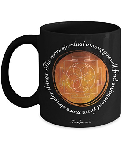The more spiritual among you will find enjoyment from more simpler things - spiritual meditation yoga gift mug by Pure Genesis black coffee cup