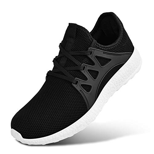 (MARSVOVO Womens Fashion Ultra Lightweight Breathable Mesh Street Sport Walking Shoes Casual Sneakers Black/White Size 9.5)
