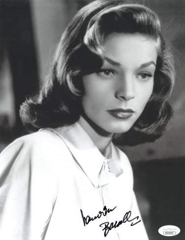 (Lauren Bacall signed Vintage B&W 8.5x11 Photo- Hologram #DD32839 (white blouse close up) - JSA Certified )