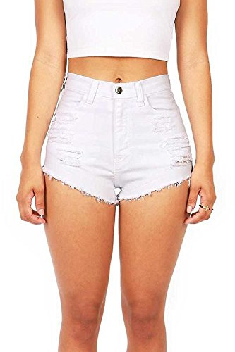 Vibrant Women's Juniors White Denim High Waist Cutoff Shorts, L, White (Distressed Vintage Shorts)