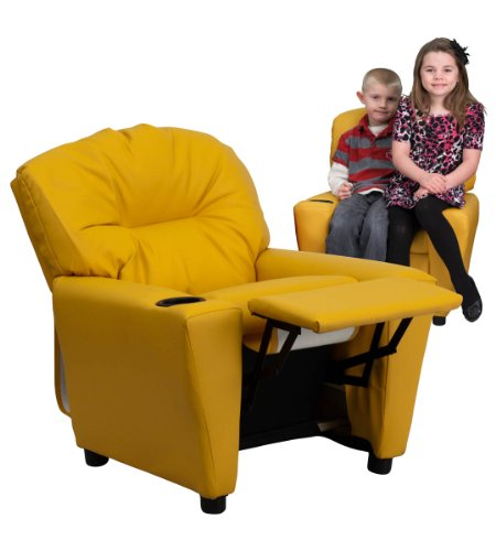 Contemporary Yellow Vinyl Kids Recliner with Cup Holder -