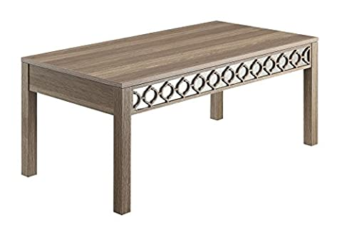 Office Star Helena Coffee Table with Mirror Accent Panel, Greco Oak Finish - Geo Coffee Table
