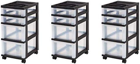 IRIS 4-Drawer Rolling Storage Cart with Organizer Top, Black, Pack 3