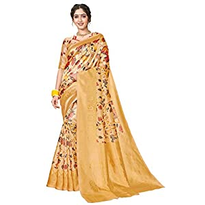 Glory Sarees Women's Banarasi Silk Blend Saree With Unstitched Blouse Piece (printed_banarasi_saree101_Multicolored)