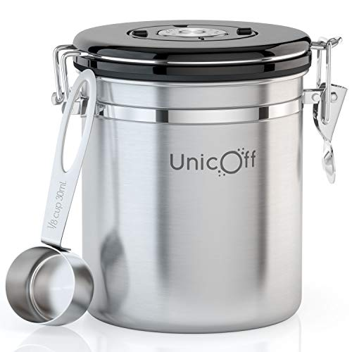 Unicoff Coffee Canister - Airtight Coffee Storage Container for Beans and Coffee Ground - Extra CO2 Exhaust Valve Filter – FREE Scoop 30 ml & eBook – Medium, Silver