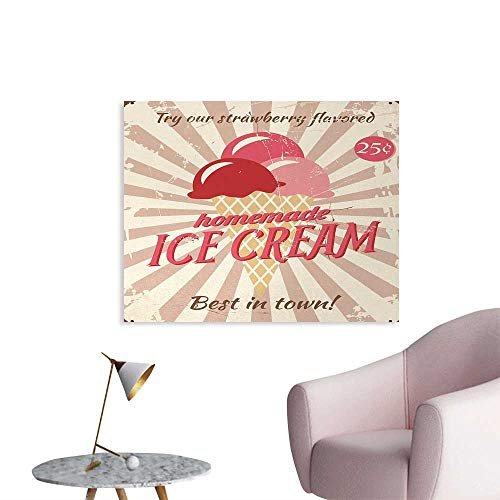 Ice Cream Funny Poster Vintage Style Sign with Homemade Ice Cream Best in Town Quote Print Wallpaper Red Coral Cream Tan W36 xL32