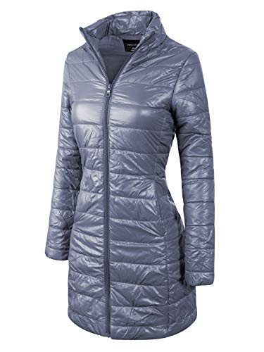 - Instar Mode Women's Casual Warm Quilted Long Puffer Down Jacket Coat Charcoal L