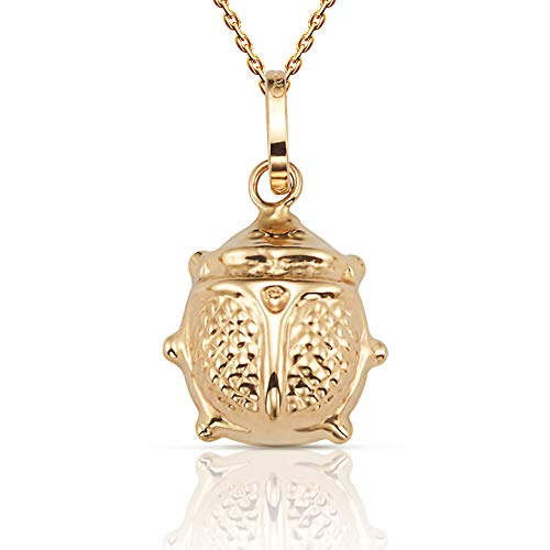 """Jewel Connection Beautiful 14K Yellow Gold Ladybug Pendant Necklace 18"""" Chain (Gold, 0.40)"""