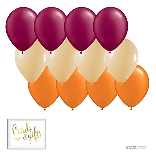 Andaz Press 11-inch Latex Balloon Trio Party Kit with Gold Cards & Gifts Sign, Burgundy, Tan and Orange, 12-pk, Fall Autumn Thanksgiving Classroom Office -