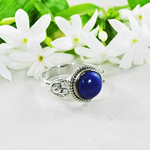 Sivalya 925 Sterling Silver 10mm Round Natural Lapis Lazuli Gemstone Handcrafted Ring - Size 8