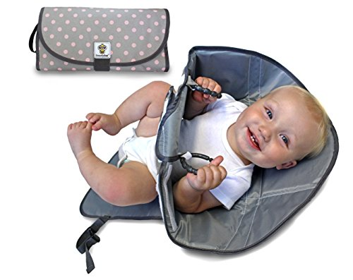 SnoofyBee Portable Clean Hands Changing Pad. 3-in-1 Diaper Clutch, Changing Station, and Diaper-Time Playmat with Redirection Barrier for use with Infants, Babies and Toddlers (Grey Pink)