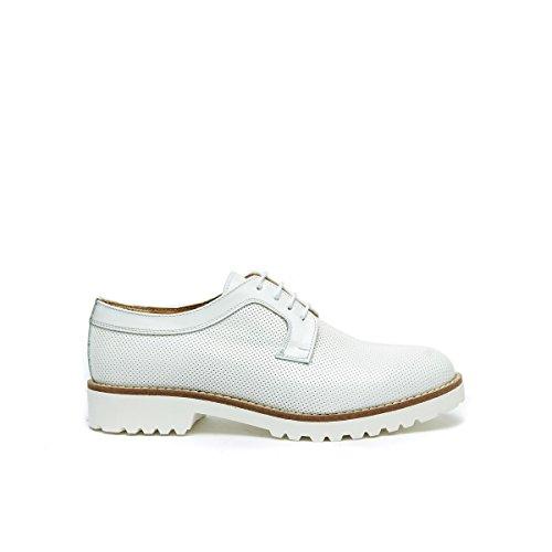 de Daniel de Cordones Frank Para Blanco Bianco Piel Derby Zapatos Mujer 7Swqq1TR
