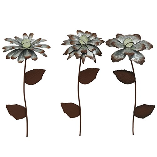 "Galvanized Floral Garden Stake Outdoor Glow in Dark Plant Pick Water Proof Metal Stick Art Ornament Decor for Lawn Yard Patio by CEDAR HOME, 4""W x 1.5""D x 14""H, 3 Set"
