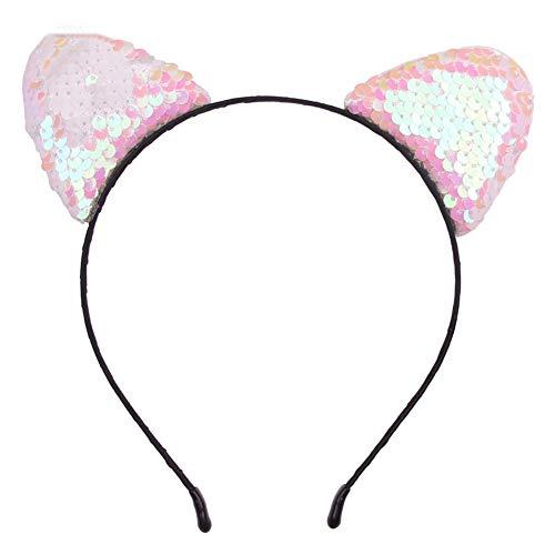 Braceus Cute Cat Ear Hairband, Glitter Flip Sequins Mermaid Kids Girls Headband DIY Hair Hoop Hair Accessory Party Photo Prop 5# -