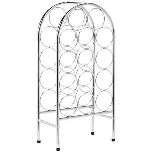 AmazonBasics Curved Metal 14-Bottle Standing Wine Holder Rack, Chrome