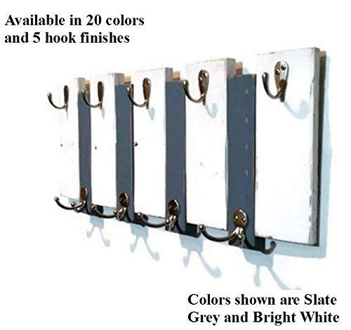 Renewed Decor Sydney Rustic Vertical Planked Wall mounted coat and key rack featuring 4 double & 5 key hooks available in 20 colors: Shown in Bright White And Slate - Vertical Slate