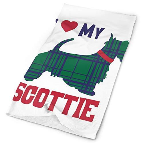Headwear Headband Head Scarf Wrap Sweatband,I Heart My Scottie Message Tartan Pattern Built In Dog Silhouette,Sport Headscarves For Men Women ()