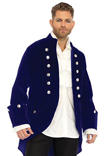 Leg Avenue Men's Blue Velvet Regency Coat, X-Large ()