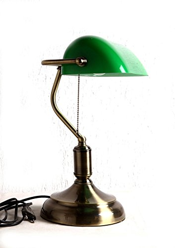 Buy glitz table lamp bankers style green glass shade antique buy glitz table lamp bankers style green glass shade antique brass finish online at low prices in india amazon aloadofball Choice Image