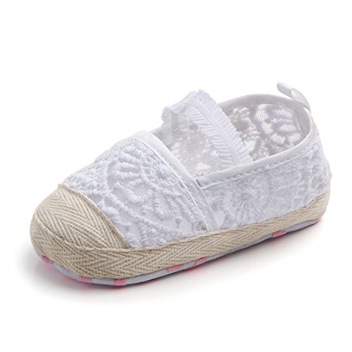 M2cbridge Baby Infant Soft Sole Floral Lace Crib Shoes Pre-Walker Slippers (12-18 months, White Hollow) (Pre Sandals Walker)