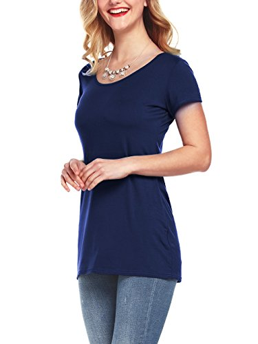 Amoretu Women's Basic Tee Tops Casual Short Sleeve Scoop Neck T-Shirts (Navy Blue, L) by Amoretu (Image #1)