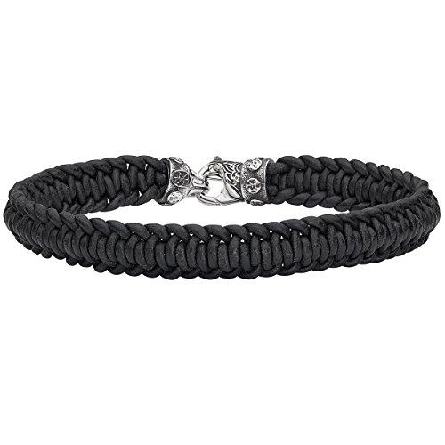 Spiral Braid Black Leather Cord Mens Bracelet By Scott Kay ()