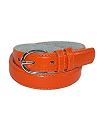CTM® Toddlers Basic 1 Inch Leather Belt, Small, Orange