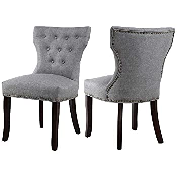 Amazon Com Dagonhil Fabric Dining Accent Chairs Set Of 2