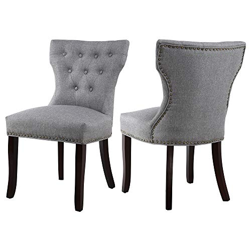 (DAGONHIL Accent Chairs Set of 2 for Dining Room with Brown Solid Wooden Legs,Nailed Trim)