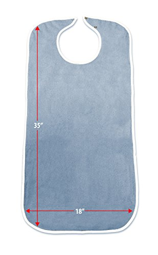 Priva Extra Long Adult Terry Bib With Protective Waterproof Backing, 18'' x 35'' by Priva (Image #4)