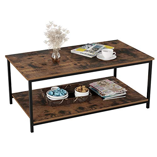 Homfa Industrial Coffee Table for Living Room, 2-Tier Tea Table with Storage Shelf TV Stand Side End Table, Accent Furniture for Home Office
