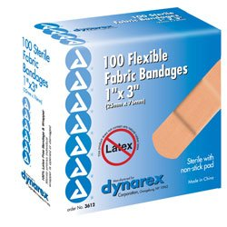 Dynarex Adhesive Fabric Bandage, 3/4 Inches X 3 Inches Sterile, 100 Count (Pack of 3)