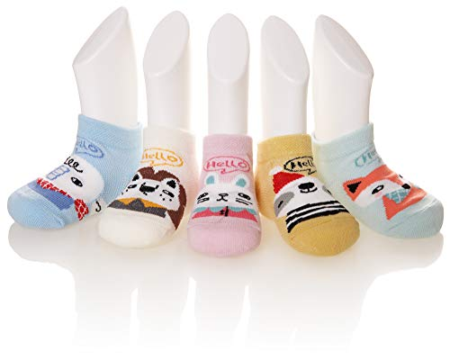 - Eocom 5 Pack kids Girls boys Low Cut Cotton Soft Cartoon Cute Breathable Socks (Animal B, 6-8 Years)