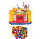 INTEX Inflatable Jump-O-Lene Ball Pit Bouncer Bounce House w/ 100 Play Balls