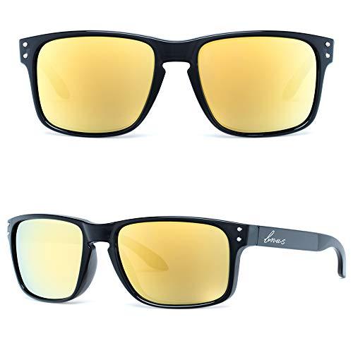 B.N.U.S Italy made Classic Sunglasses Corning Real Glass Polarized Lens.Retro Square Sunglasses Neutral Black Women and Men (Black/Polarized Yellow Flash, Polarized ()