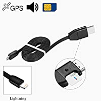 Jiusion GPS Spy Audio Sound Listening USB Cable Charger Surveillance Device Quad-band Real Time Tracker GSM GPRS System Bag Vehicle Tracking Alarm Device (Lightning for iPhone iPod iPad)