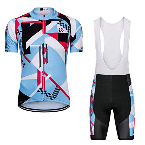 Short Sleeve Cycling Jersey Set MTB Outfit Bicycle Clothing Kit Women Suit Road Bike Clothes Sky Blue