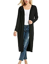 Meaneor Womans Long Sleeve Waterfall Open Front Maxi Cardigan w/ Hoodies