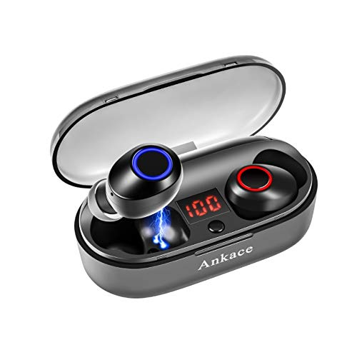 Wireless Earbuds,Ankace True Wireless Headphones Bluetooth 5.0 Earbuds 24Hrs Playtime Deep Bass 3D Stereo HD Sound, Support Binaural Call with CVC Noise Cancelling, Sweatproof with Charging Case