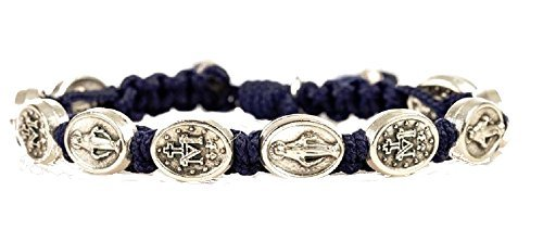 Catholic My Saint My Hero, St. Mary Bracelet, Navy Miraculous Mary Blessing Bracelet. This Beautiful Blessing Bracelet Is Hand-made At the Base of Apparition Hills in Medjugorje Where It Is Reported That the Blessed Virgin Mary Started Appearing to a Grou